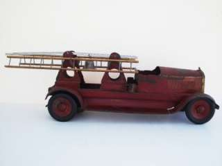 1920s JOHN C. TURNER TOYS Fire Truck Aerial ladder Pressed Steel Toy