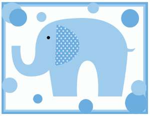 DOT ELEPHANTS BABY BOY NURSERY WALL ART BORDER STICKERS DECALS