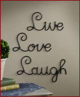 LIVE LOVE LAUGH Scroll Metal Art Wall Word Decor Set