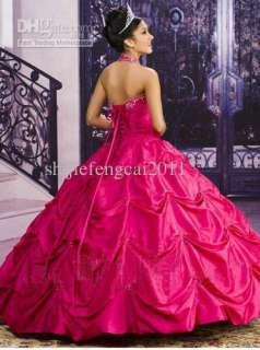 fuchsia Halter Applique Prom ball gown wedding dress Quinceanera Dress