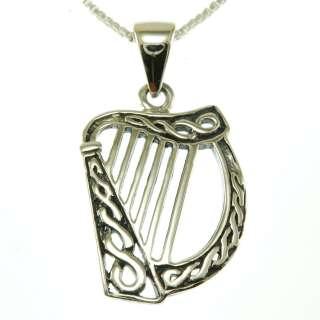 Celtic Knot Harp Pendant Solid Sterling Silver Irish Jewelry w Box