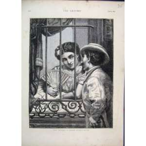 Cuban Street Scene 1873 Man Woman Romance Old Print