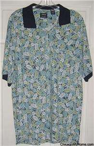 IZOD Silk Wash Mens Blue Cotton Polo Shirt Medium M