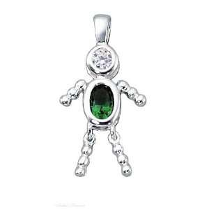 Sterling Silver May Birthstone Babies Boy Child Pendant Jewelry