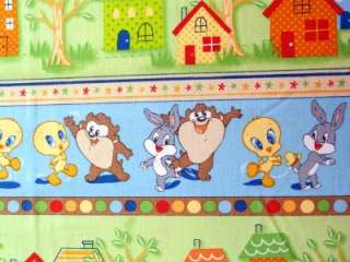 Tunes Stripe Fabric BTY Bugs Bunny Taz Tweety Bird VIP Cartoon