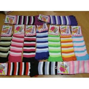New 12 Pairs Lady Girl Stripe TOE sock