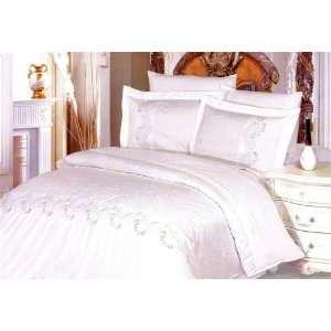 Le Vele Beatrice White Jacquard Duvet Cover Set Full Queen Bedding
