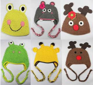 Crochet Knit Earflap Hat Baby Child Girl Boy Gift Giraffe Frog Hippo