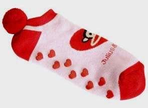 Paul Frank JULIUS Pink & Red HEART No Slip Slipper Sock