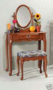 OAK VANITY AND STOOL SET (BRAND NEW)