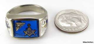 Master Mason RING   10k White Gold *Blue Stone* Masonic Diamond