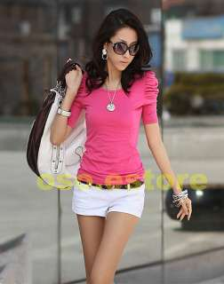 Colors  Women Bubble Short Sleeve Solid Casual Stretchy T shirt Tops