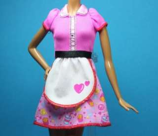 Pink Purple Blue Waitress Dress Uniform Outfit for Barbie
