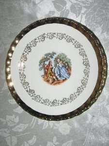 Atlas Fine China 22 Kt Gold Colonial 6 Sm & 1 Lg Plate