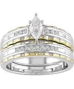 14k Two tone Gold 3/8ct TDW Round and Marquise Diamond Engagement Ring