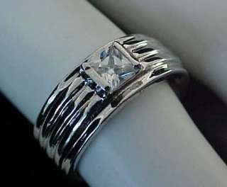 .40 carat PRINCESS Cut cz Ribbed White Gold ep Band Ring Sz5