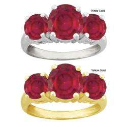 10k Gold Round Synthetic Ruby 3 stone Ring