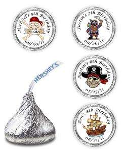 108 PIRATE BIRTHDAY HERSHEY CANDY KISSES LABELS FAVORS