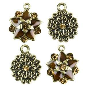 3pc Metal & Enamel Flower Charms   Gold Arts, Crafts