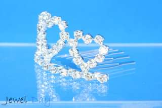 Lovely 3 Heart Crystal Flower Girl Wedding Tiara Crown