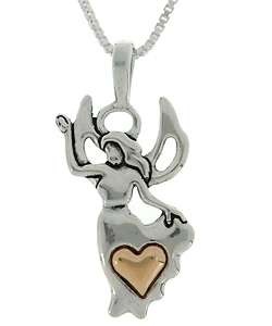 Sterling Silver and 14k Gold Angel and Heart Necklace