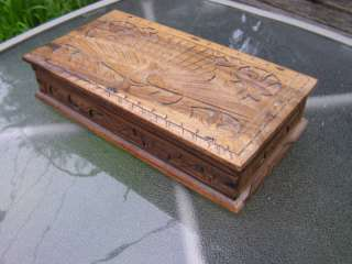 ANTIQUE CARVED PEACOCK BIRD ARTWORK WOODEN JEWELRY BOX