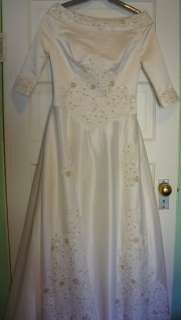 Cream/Ivory Colored Beaded Wedding Dress size 10 12