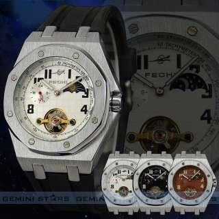 Face Tachymeter Tourbillon Monnphase Auto Mechanical Men Watch