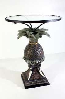 25 Round Verdi Green Pineapple Base Glass Topped Accent End Table