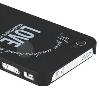 2pcs New White Black Love Heart Hard Case Cover For iPhone 4G 4S