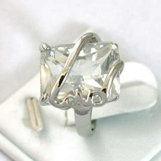 White Square Gemstone 10K GP Diamante Ring Craft