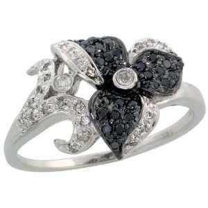 14k White Gold Flower Diamond Ring, w/ 0.25 Carat Brilliant Cut White