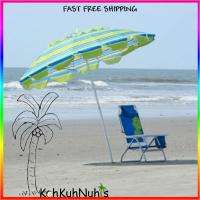 Beach Umbrella Large 8 Adjustable 50+ UV Protection, Bag, Blue Green
