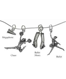 Sterling Silver Dance and Cheer Charm Necklace
