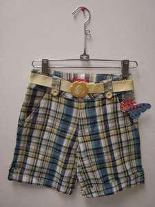 Girls Blue/White/Yellow Plaid Bermuda Shorts (Size 8)