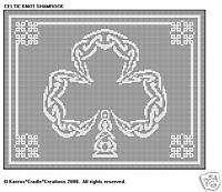 CELTIC KNOT SHAMROCK Filet DOILY/TABLE RUNNER Pattern