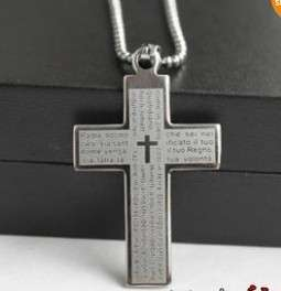 NEW Mens Stainless Steel Cross Bible Titanium Steel Necklace #2 COOL