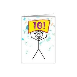 Happy 10th Birthday Stick Figure Holding Sign Card Toys & Games