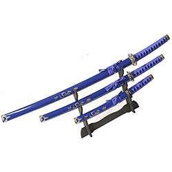 Dragon Symbol 3 piece Blue Katana Sword Set