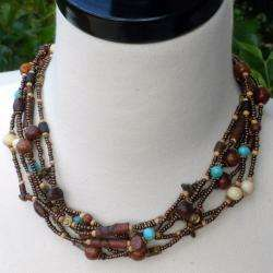Wood Handmade Pop of Turquoise Bead Necklace (India)