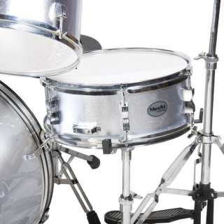NEW 5 PIECE COMPLETE DRUM SET +CYMBAL+STOOL ~SILVER
