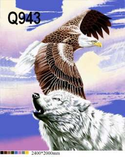 WOLF & EAGLE, 2 PLY Designed Blankets Gift Q8943