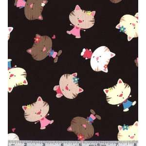 45 Wide Cute Kitty Black Fabric By The Yard Arts