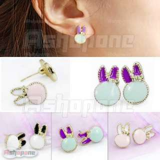 Super Cute lovely Bunny Rabbit with Gold Plated Frame Stud Earrings