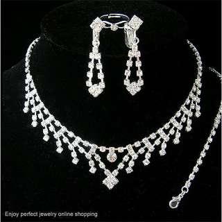 Wedding/Bridal necklace earrings bracelet ring set S012