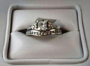 Stamped 14KT White Gold Diamond Wedding Set Ring