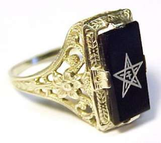 Order of the Eastern Star ~ 14K Solid Gold Ring Sz 3.75