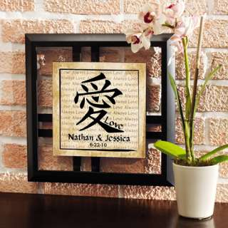 Chinese Love Symbol Framed Art with Date: Personalized Gifts