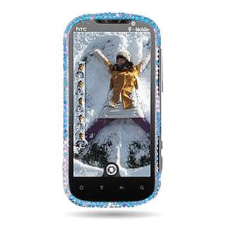Bling Diamond Hard Cover Case For T Mobile HTC Amaze 4G Phone Blue