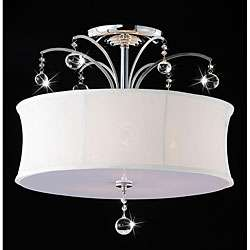 Indoor 5 light Chrome/ Crystal Flush Mount Chandelier